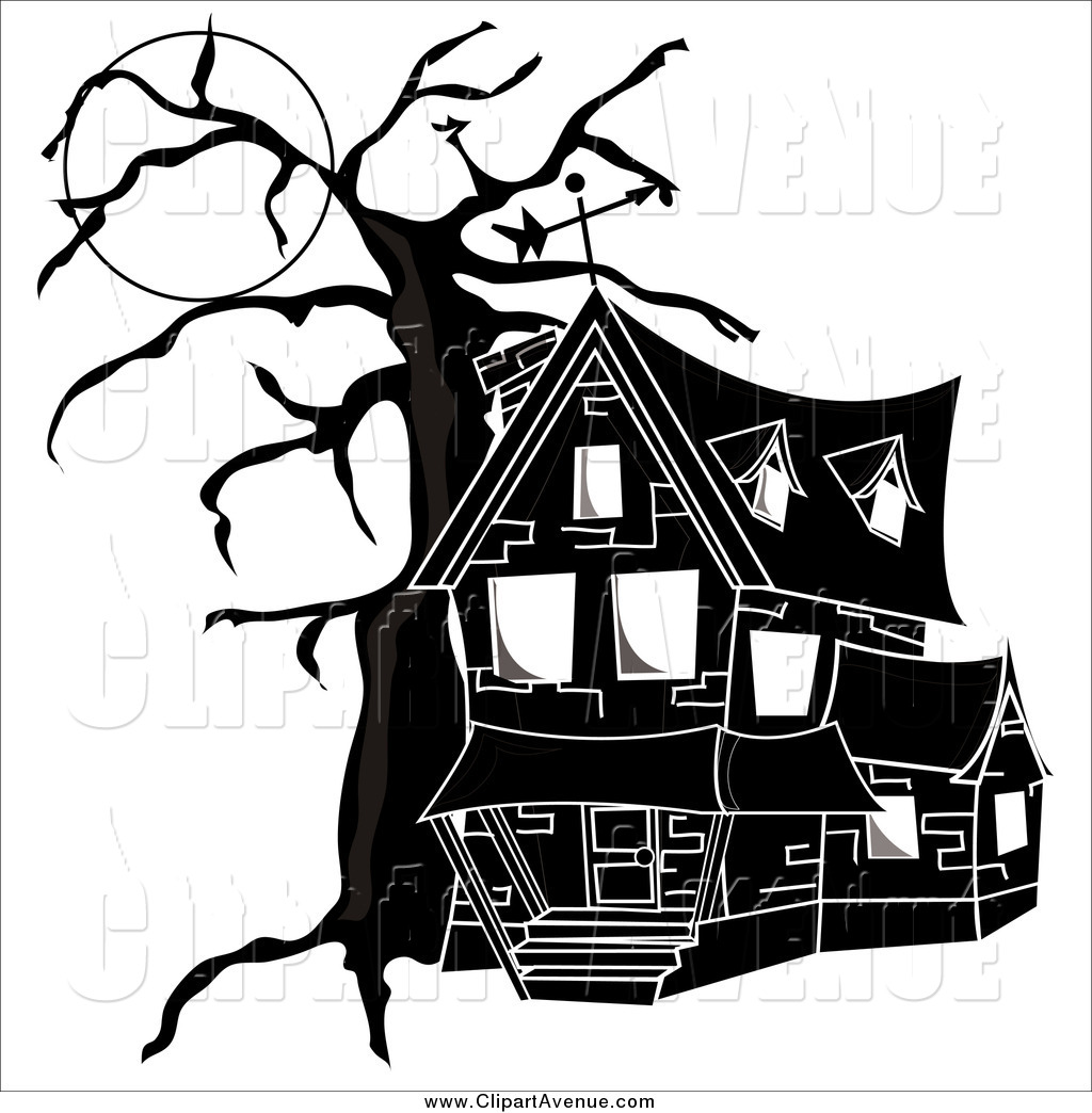 Avenue Clipart of a Black and White Haunted House by Pams Clipart.