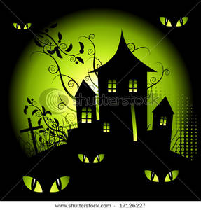 Haunted library clipart.
