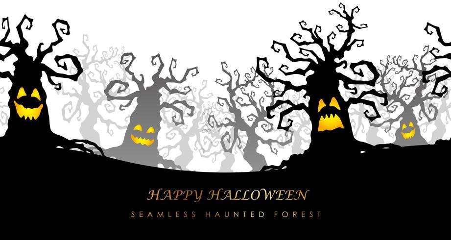 Happy Halloween seamless haunted forest vector illustration.