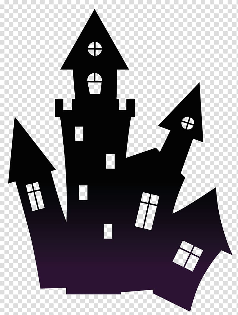 Silhouette of castle , Halloween , Haunted Black Scary House.