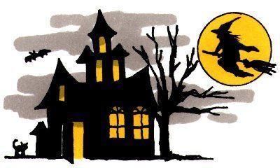 Halloween Cartoon Haunted House Clip Art.