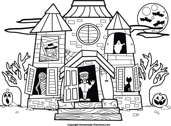 17+ Haunted House Clipart Black And White.