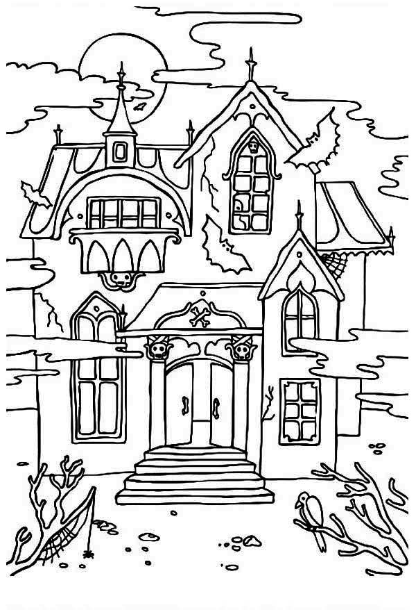 Free Printable Haunted House Coloring Pages For Kids.
