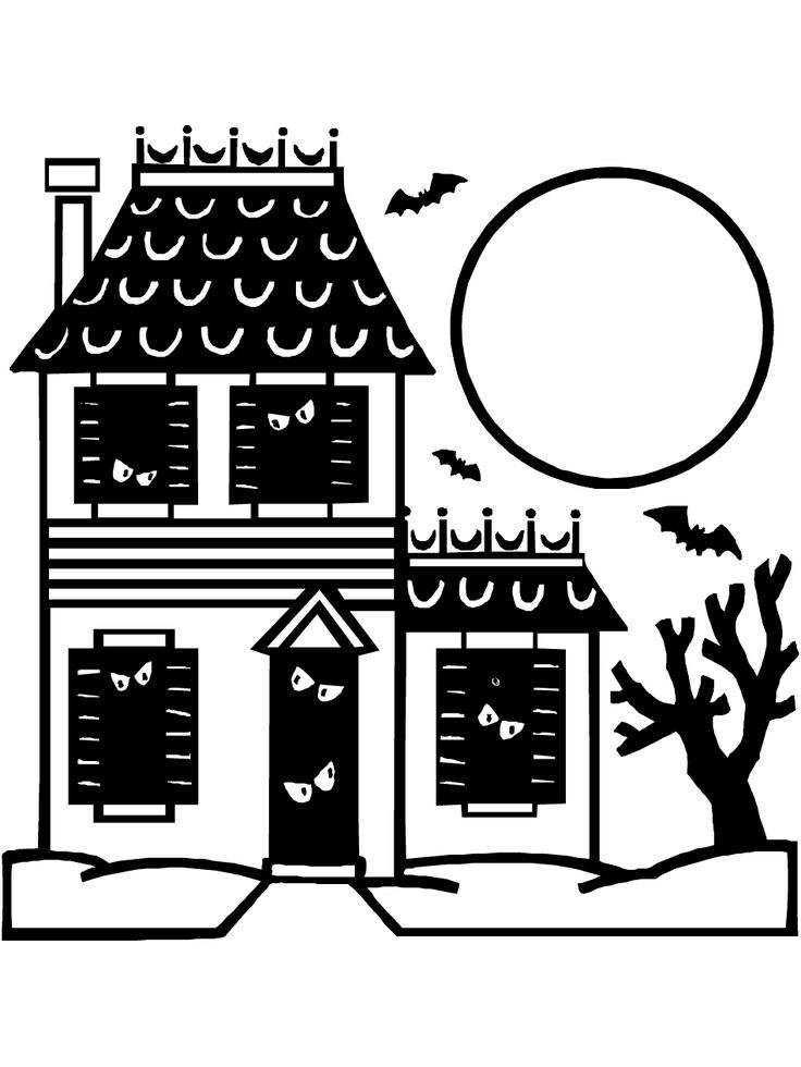 haunted house silhouettes coloring pages - photo#11