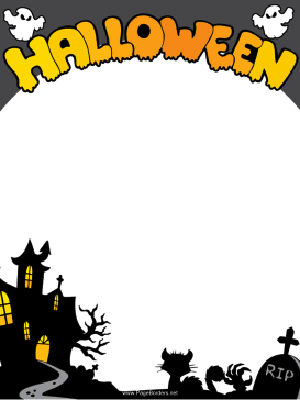 This free, printable Halloween border features ghosts, black cats.