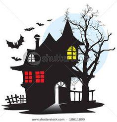 Haunted House Scene Clipart.