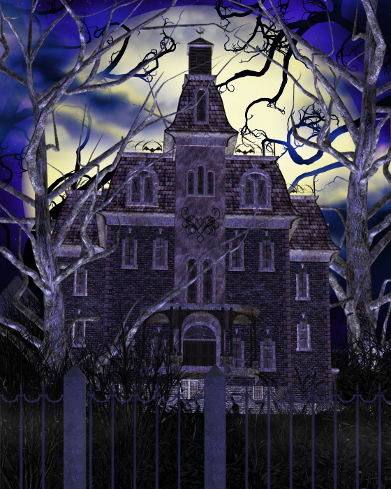 Purple Haunted House Clipart.