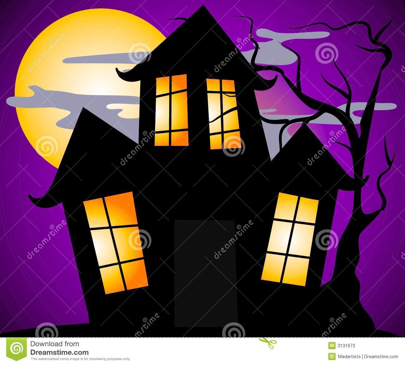 Haunted House Scene Royalty Free Stock Image.