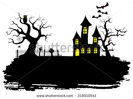 Cartoon Haunted House Stock Images, Royalty.