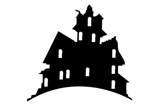Free haunted house silhouette vector clipart.