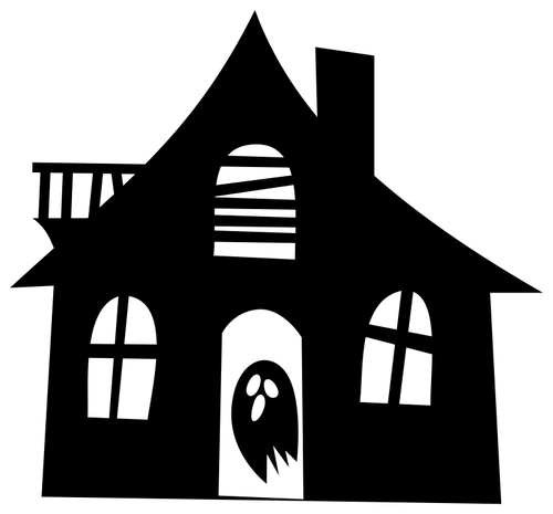 Haunted house silhouette image.