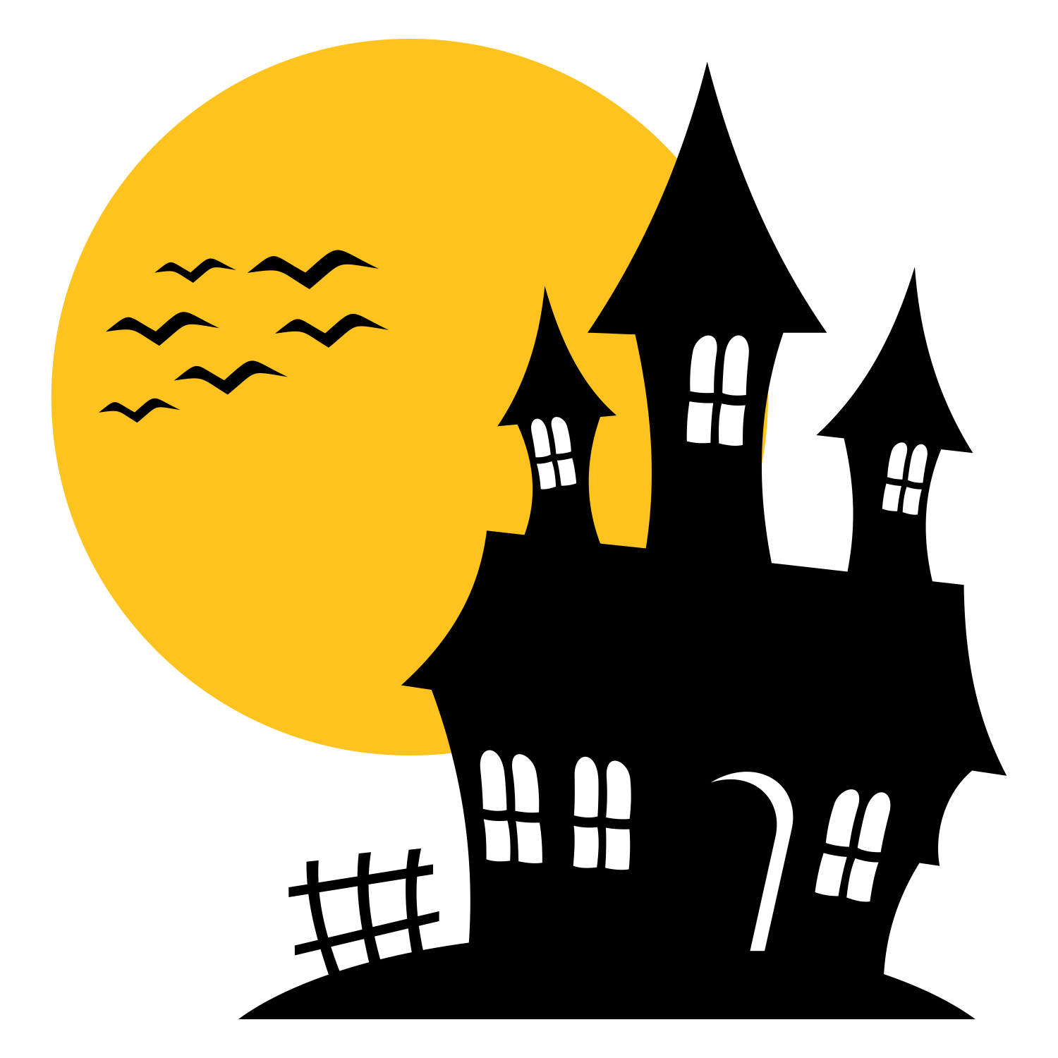 Haunted house silhouette.