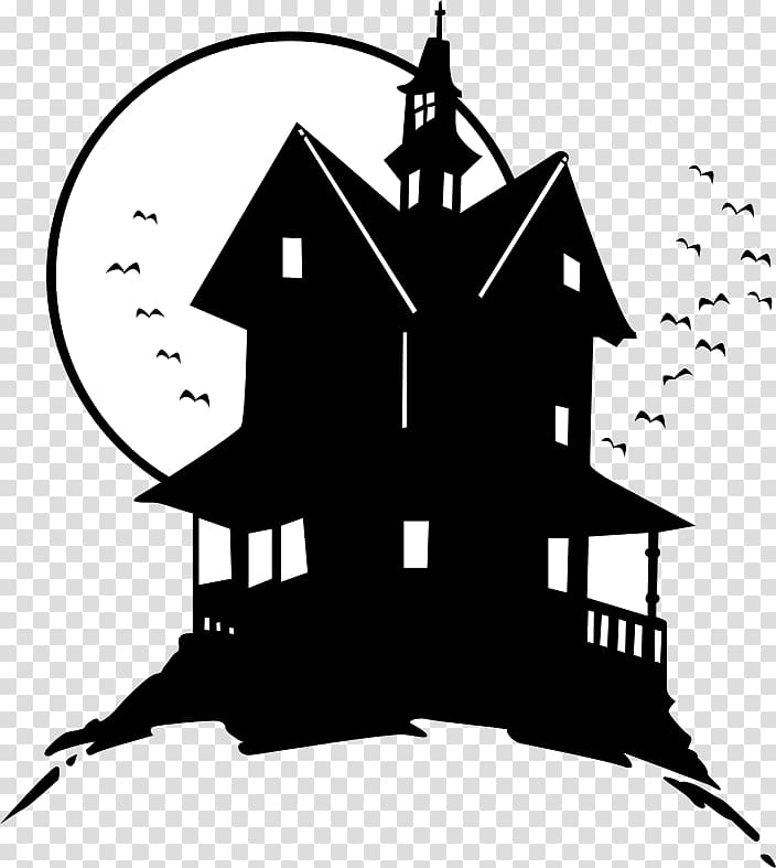 Haunted house , silhouette transparent background PNG.