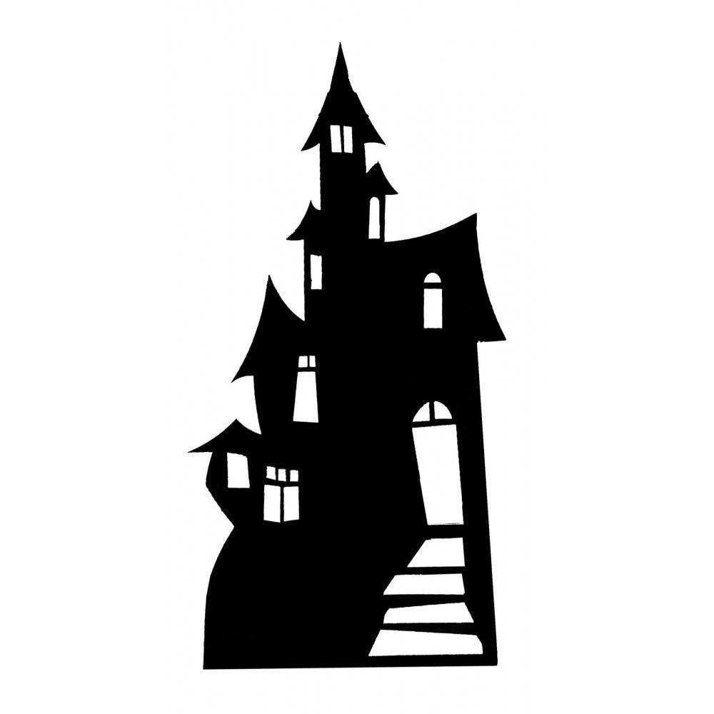 Haunted House Silhouette Small Cutout.