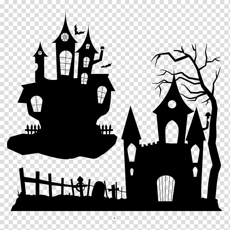 Halloween Ghost Party , Halloween Haunted House Silhouette.