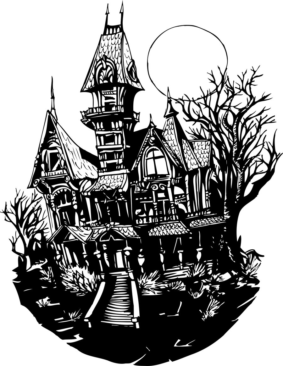 Haunted house coloring page free clipart images.