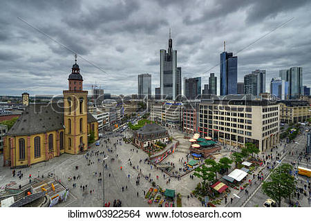 """Stock Photo of """"Skyline with Hauptwache square, headquarters of."""