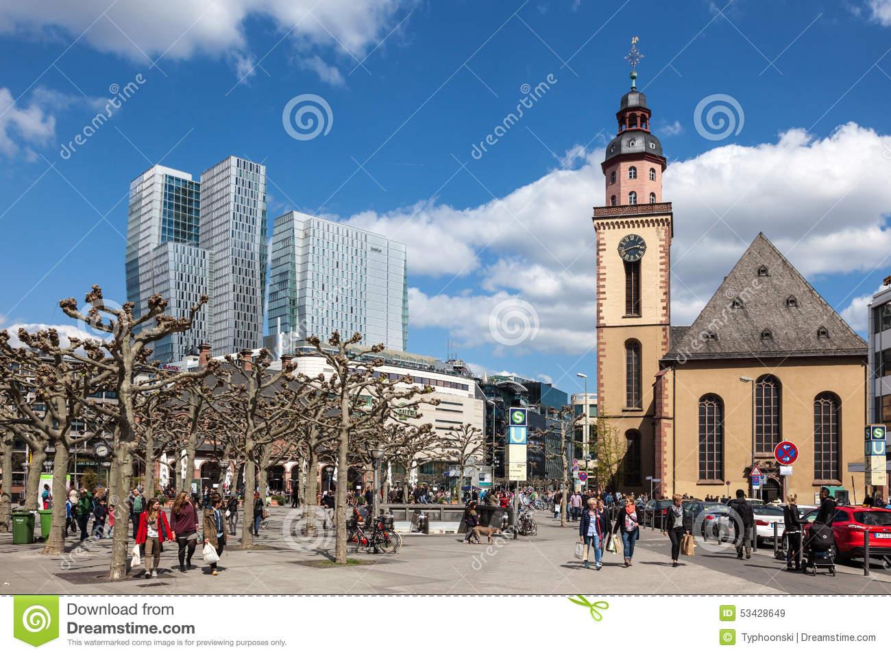 People Walking In The Hauptwache Plaza In Frankfurt Editorial.