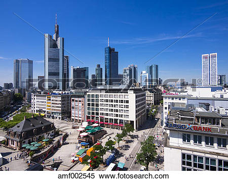 Stock Image of Germany, Hesse, Frankfurt, View to financial.