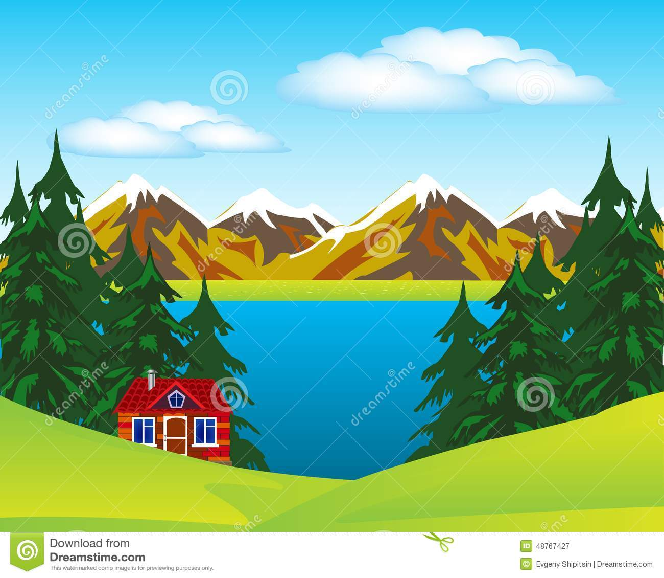 Lake house clipart.