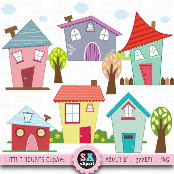 """Poco sistema de """"Casas prediseñadas"""" casas Digital Clip Art."""