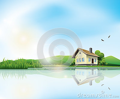 Lake Trees Clouds House Reflection Stock Illustrations.