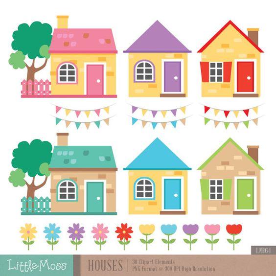 Little Houses Digital Clipart.