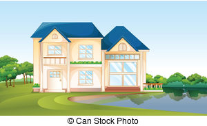 Clipart Vector of Big Tree Falling Into The Roof of a House.