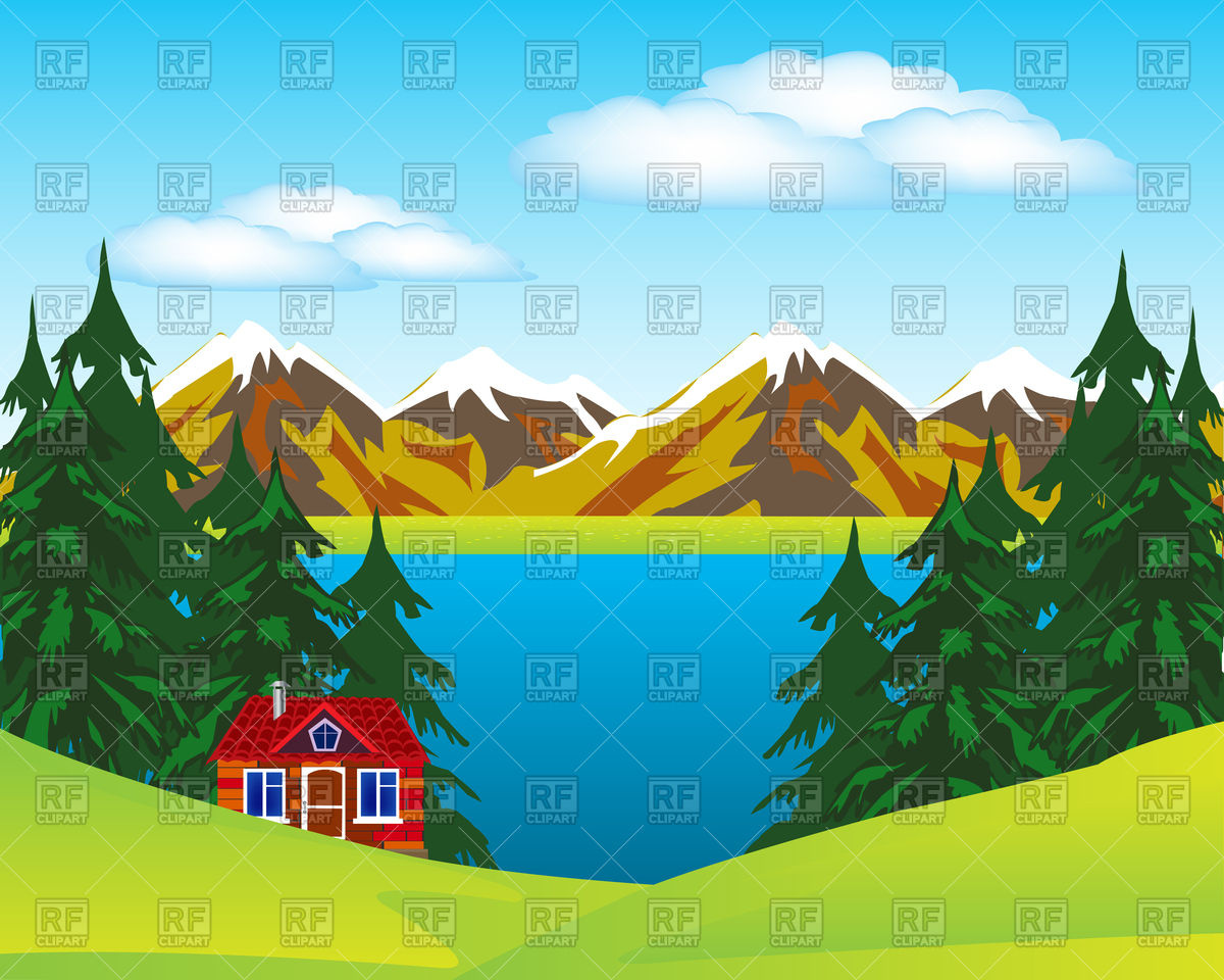 Landscape with house beside lake Vector Image #93955.