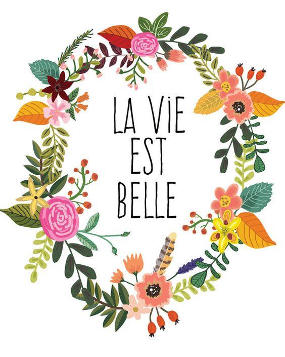 Kunstdruck Inspirierender Spruch 'La vie est belle' Hausdeko.