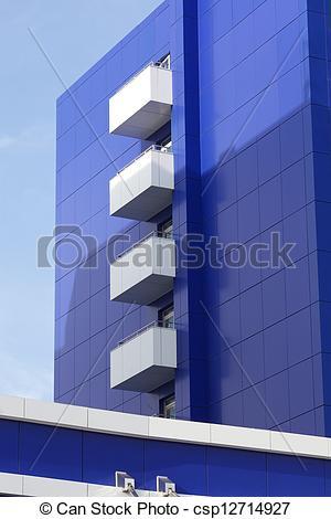 Clip Art von blaues, haus, Fassade.