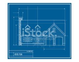 Vektor Hausfassade Blueprint stock.