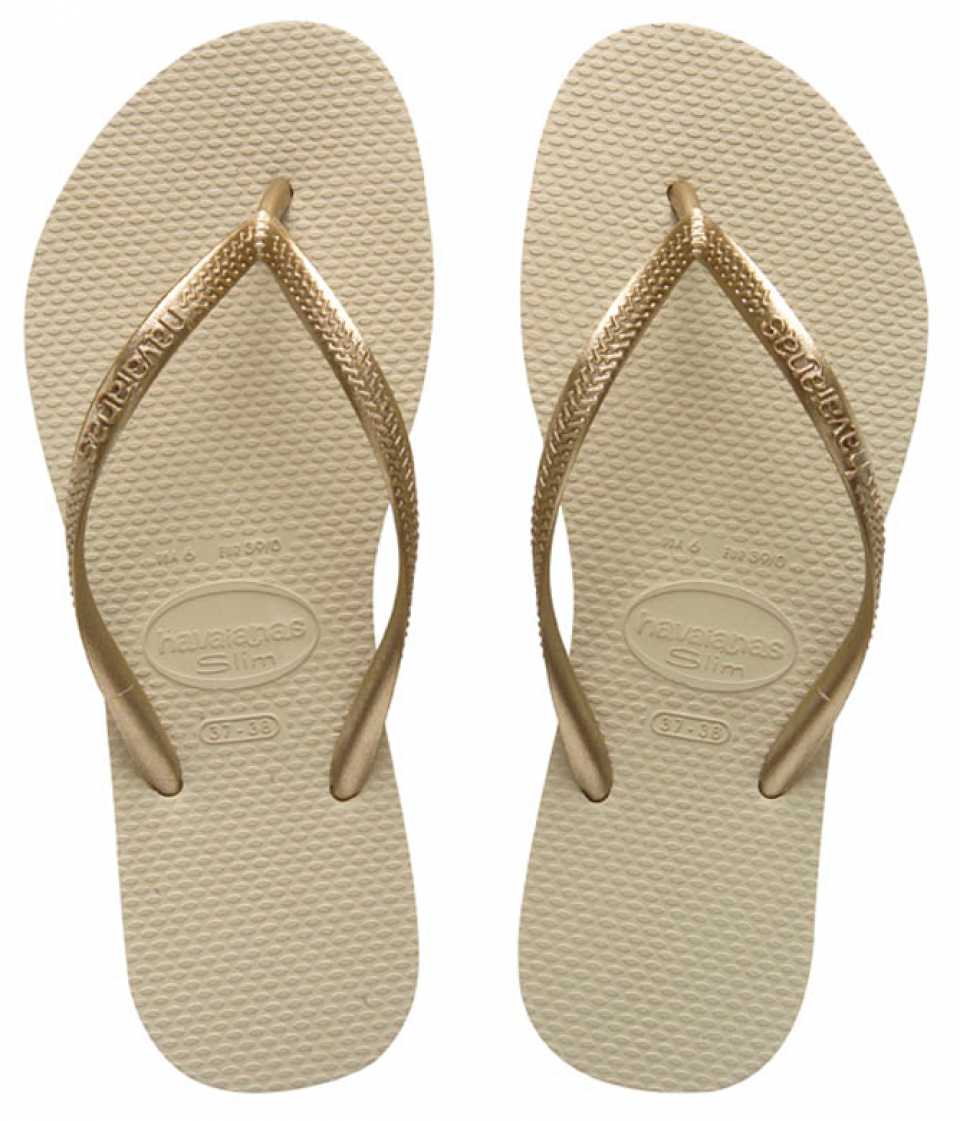 Havaianas Slim Sand Grey/Light Golden Flip Flop.