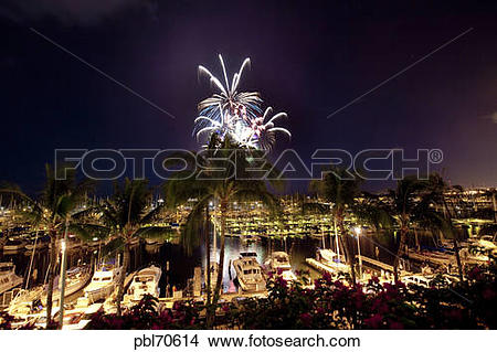 Stock Photo of Fourth of July fireworks display, Ala Wai Yacht.