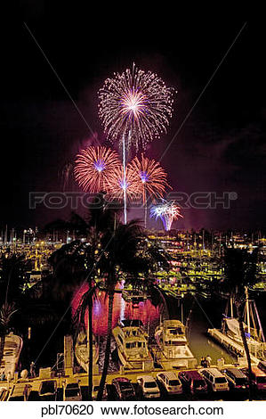 Stock Photography of Fourth of July fireworks display, Ala Wai.