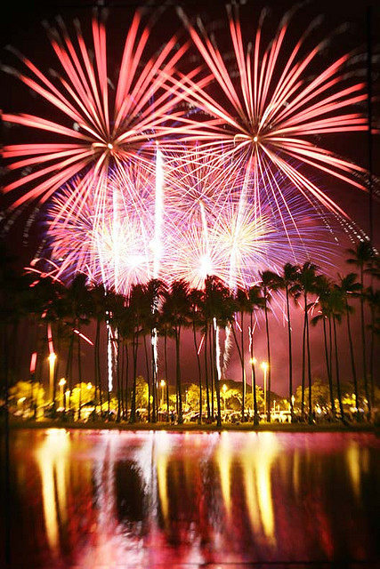 Fireworks in Honolulu is displayed every Fridays at the Hilton.