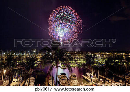 Picture of Fourth of July fireworks display, Ala Wai Yacht Harbor.