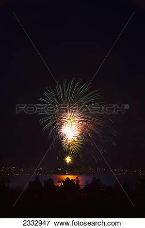 Picture of Fourth of July fireworks over Maunalua Bay; Hawaii Kai.
