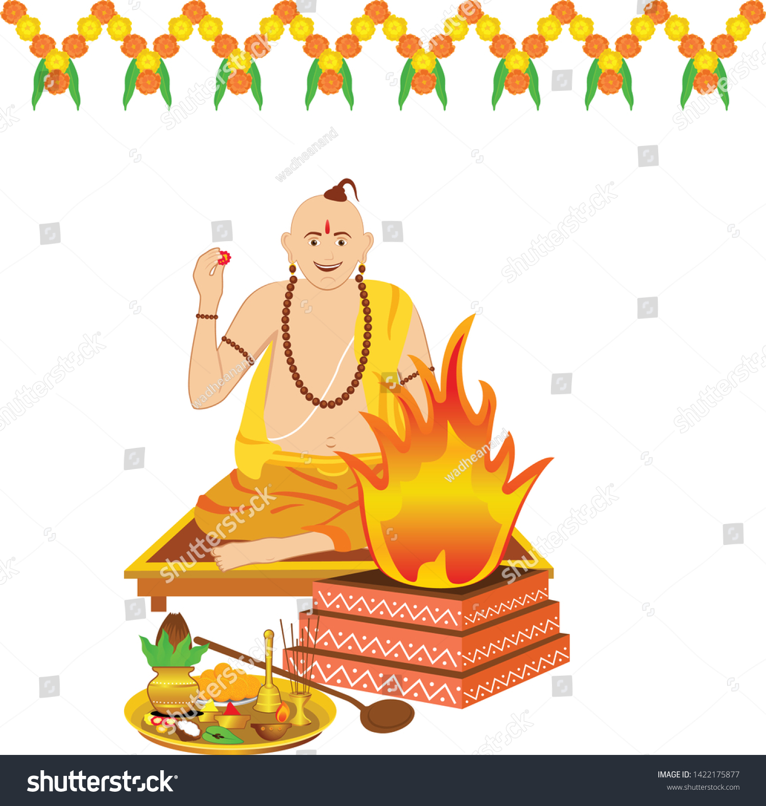 Creative design of a panditji doing the Havan or yagna pooja.