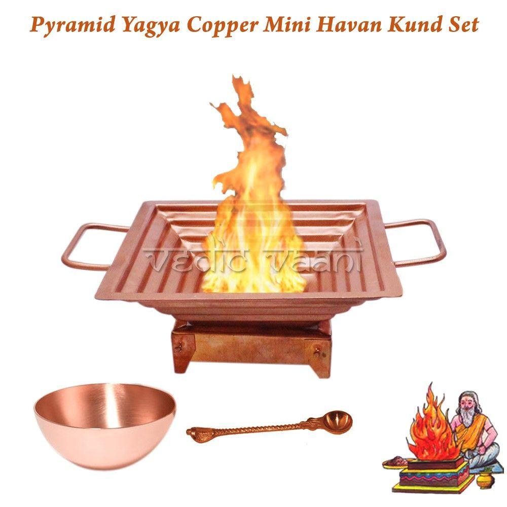 Pyramid Yagya Copper Mini Havan Kund Set.