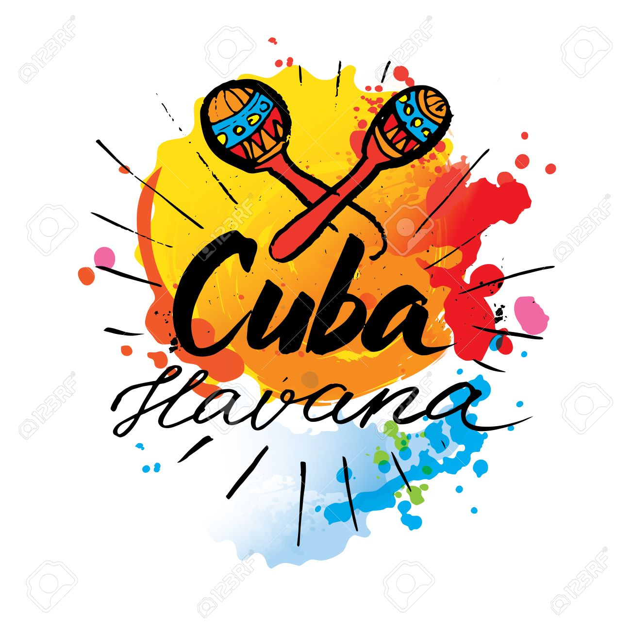 Cuba Havana logo. hand lettering and colorful watercolor elements...