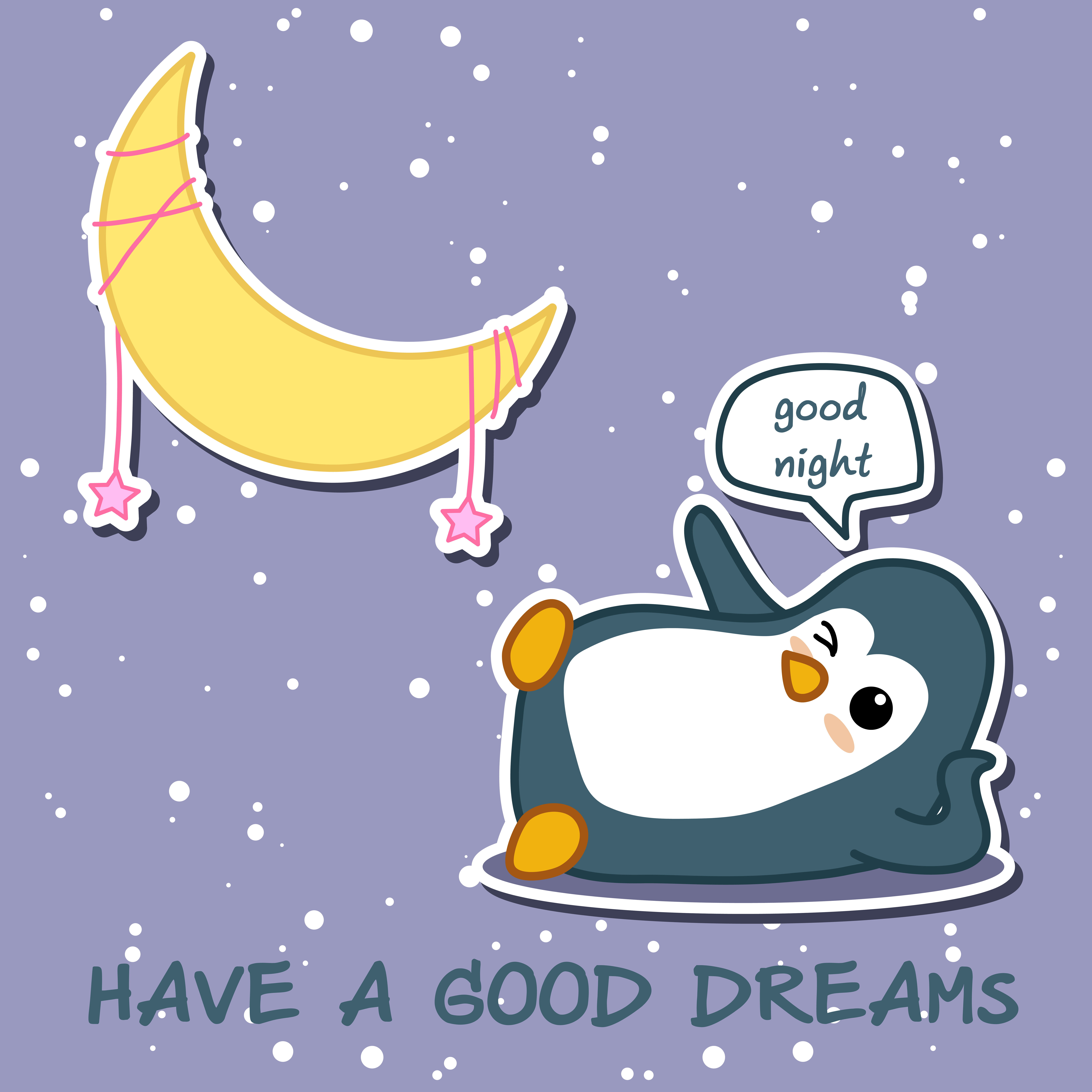 Penguin says good night with moon..