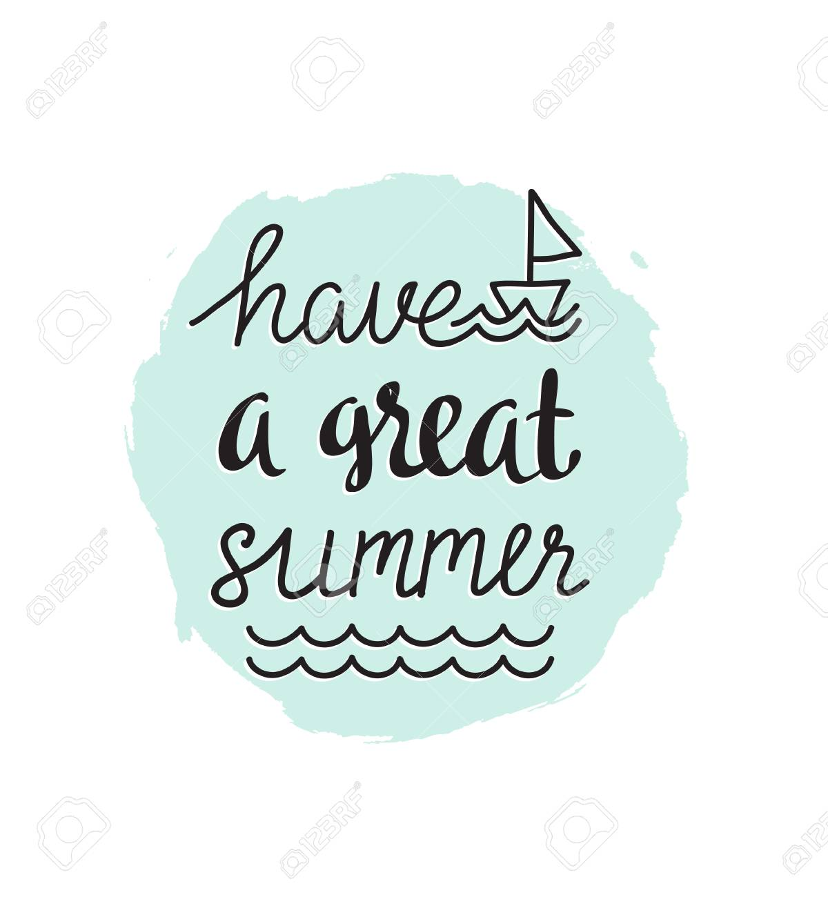 Summer banner. Vector hand drawn illustration with stylish calligraphy...