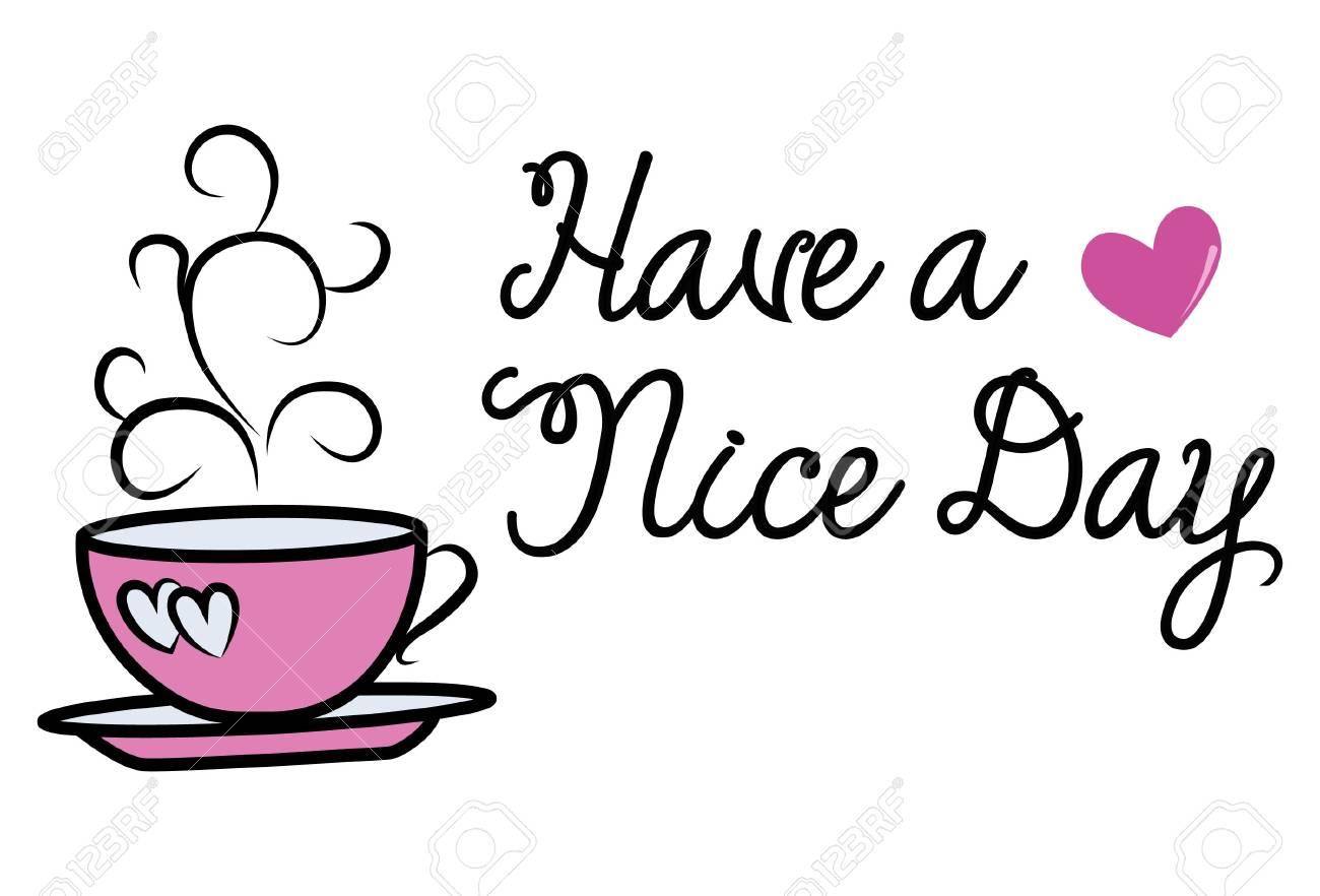Vector cartoon illustration. Pink cup of tea. Lettering motivational...