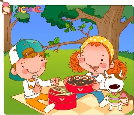 Kids Eating Picnic Clipart