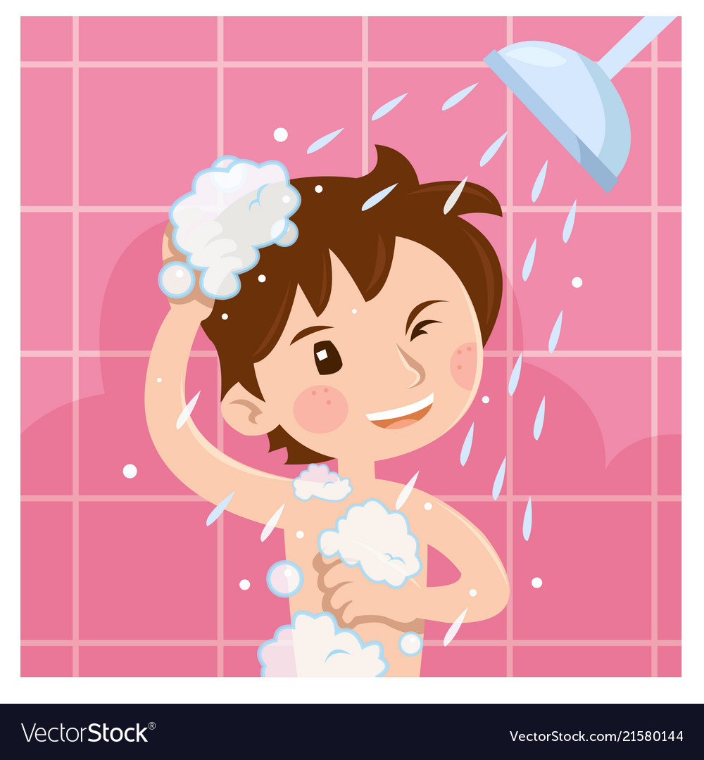 Cute boy taking shower in bathroom in the morning vector image.