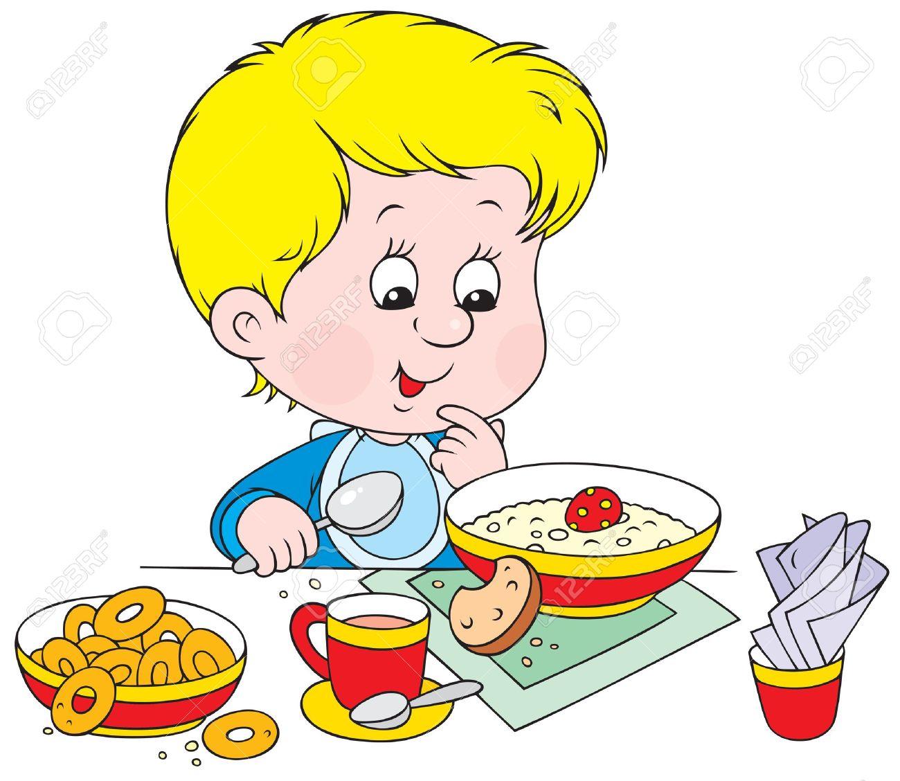 Kids having breakfast clipart.