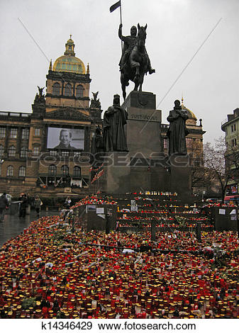 Stock Photograph of Vaclav Havel mourn in Wenceslas Square(Prague.