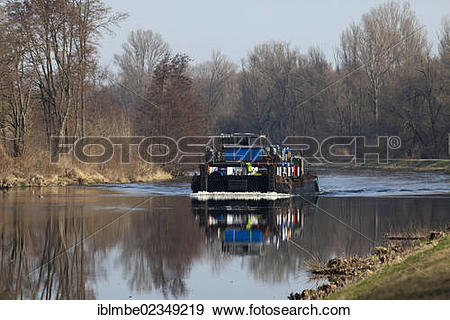 """Stock Photograph of """"Cargo ship floating on the Havel Canal near."""