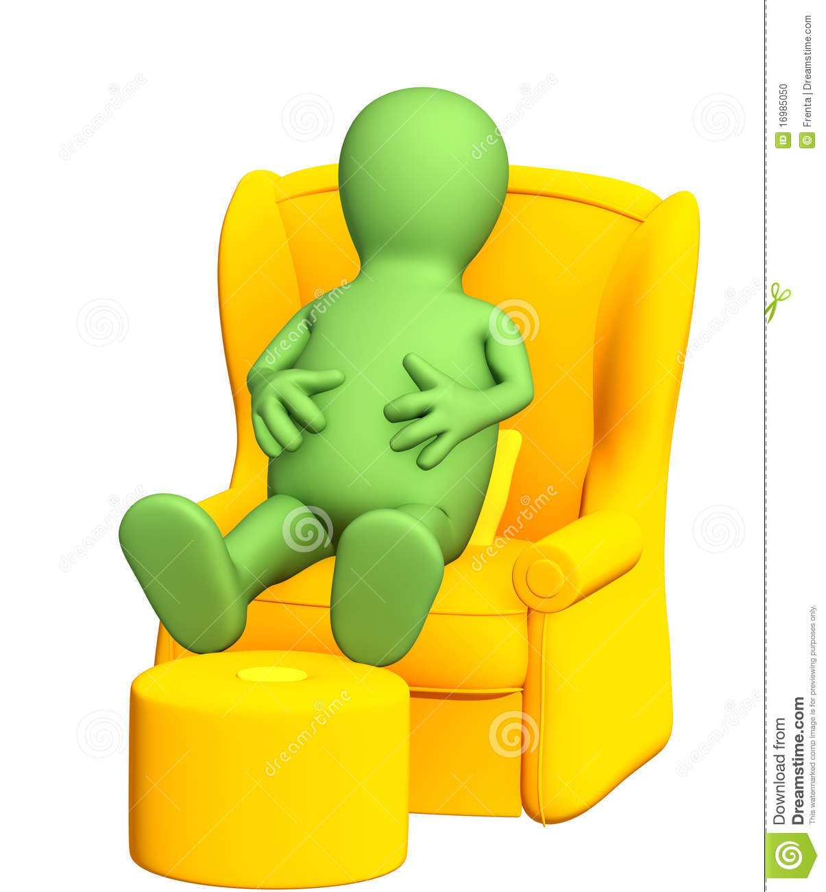 3d Puppet, Having A Rest In A Soft Armchair Stock Photo.
